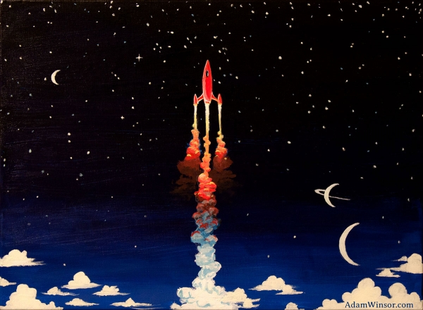 Glow-in-the-dark Rocket Painting (Light)